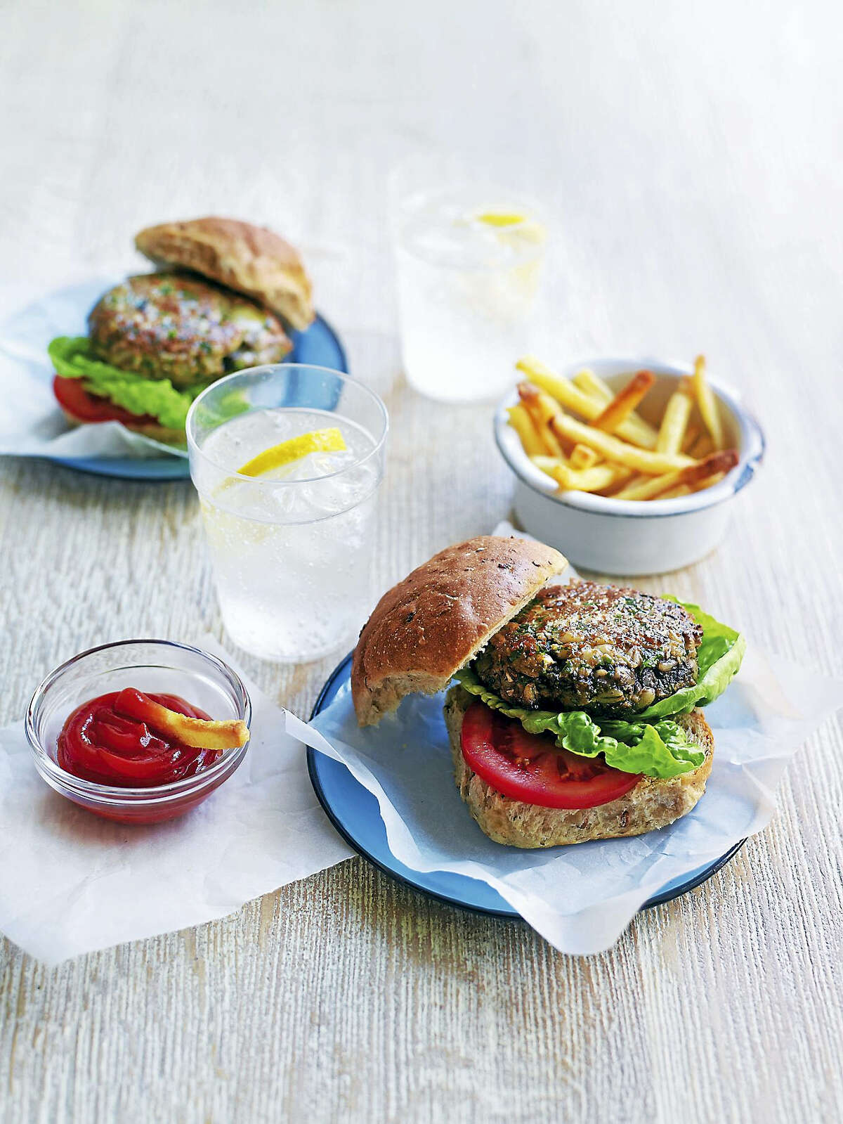A mushroom barley burger is the perfect centerpiece of a meat-free BBQ meal.