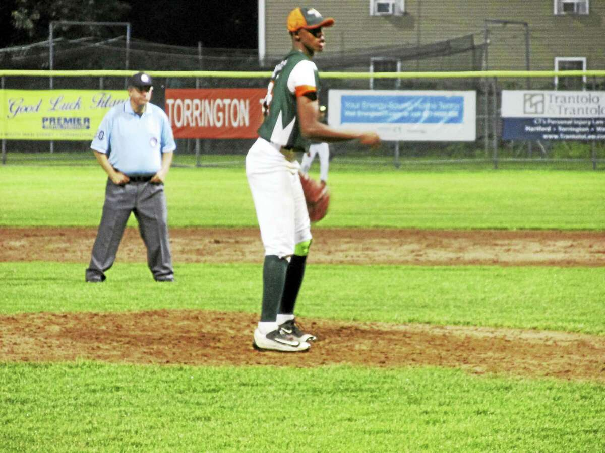 Torrington right fielder Pepe Napoleon was one of four Rebel position players taking a turn on the mound in Torrington's Tri-State Baseball playoff loss to the Naugatuck Dogs Monday night at Fuessenich Park.