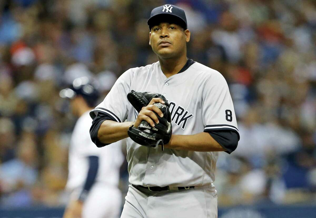 Pitcher Ivan Nova reacts was traded from the New York Yankees to the Pittsburgh Pirates.