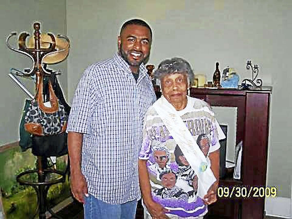 Shahid Abdul-Karim with his grandmother Avis Baker White who was Miss Southern University 1947.