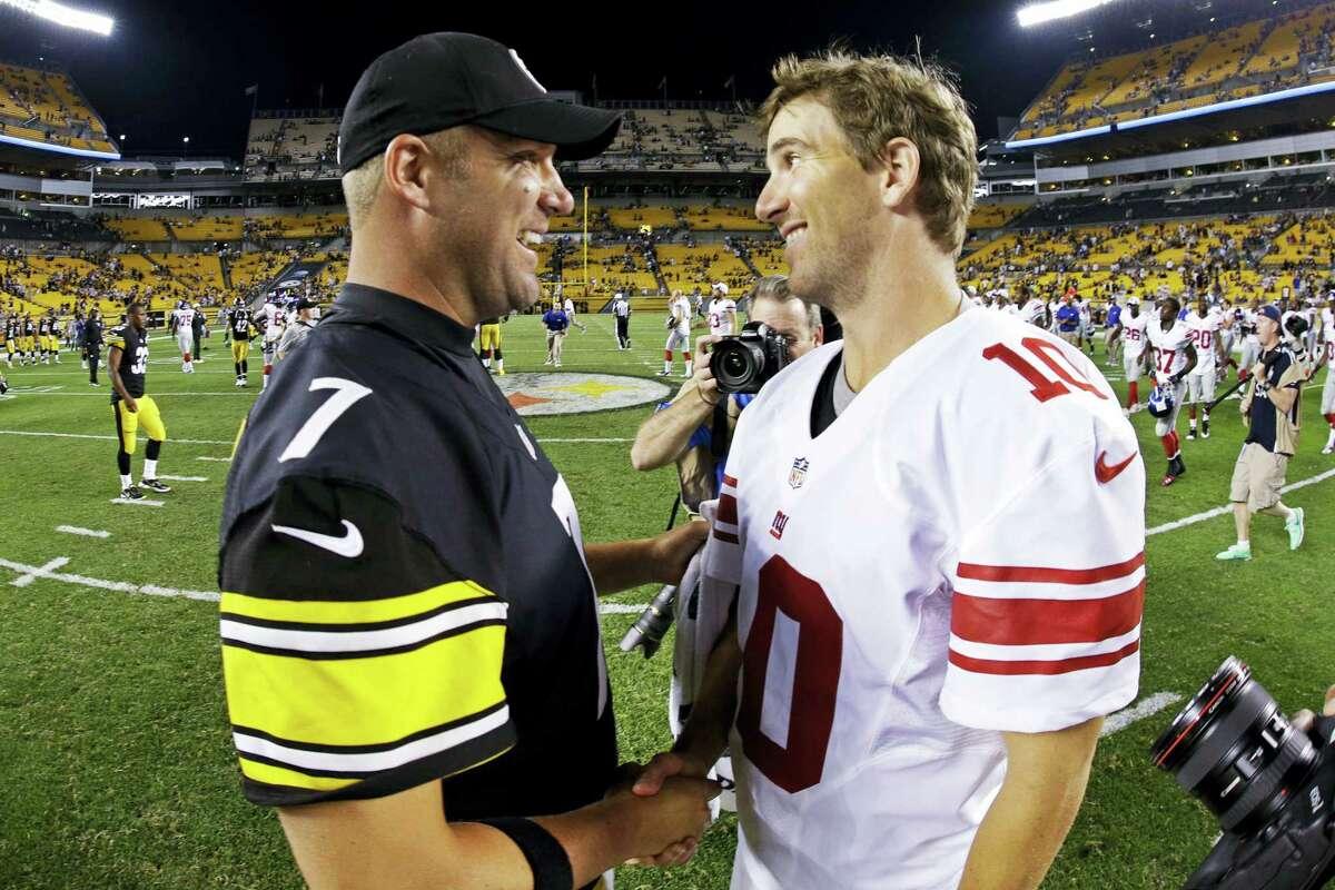 Steelers quarterback Ben Roethlisberger, left, and Giants quarterback Eli Manning shake hands after a preseason game in 2013 in Pittsburgh.