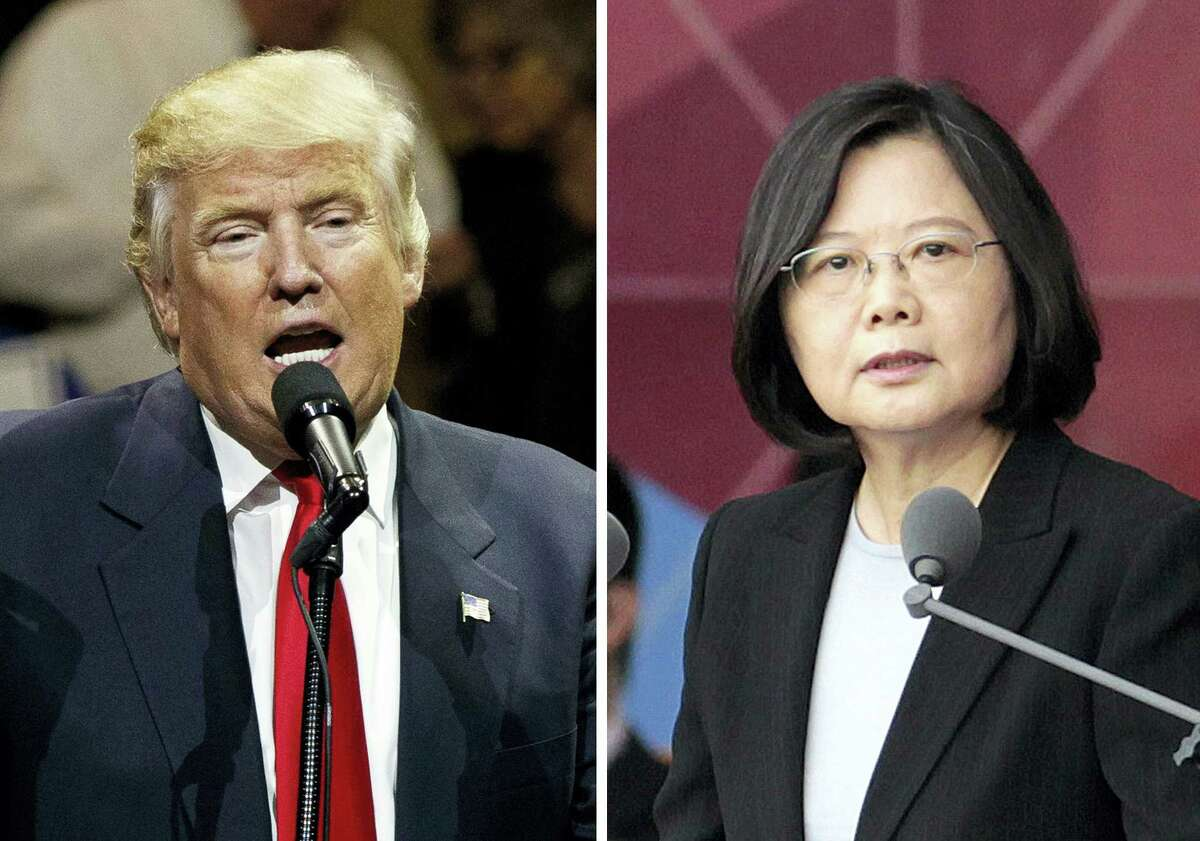 """This combination of two photos shows U.S. President-elect Donald Trump, left, speaking during a """"USA Thank You"""" tour event in Cincinatti Thursday, Dec. 1, 2016, and Taiwan's President Tsai Ing-wen, delivering a speech during National Day celebrations in Taipei, Taiwan, Monday, Oct. 10, 2016. Trump spoke Friday, Dec. 2, with Tsai, a move that will be sure to anger China."""
