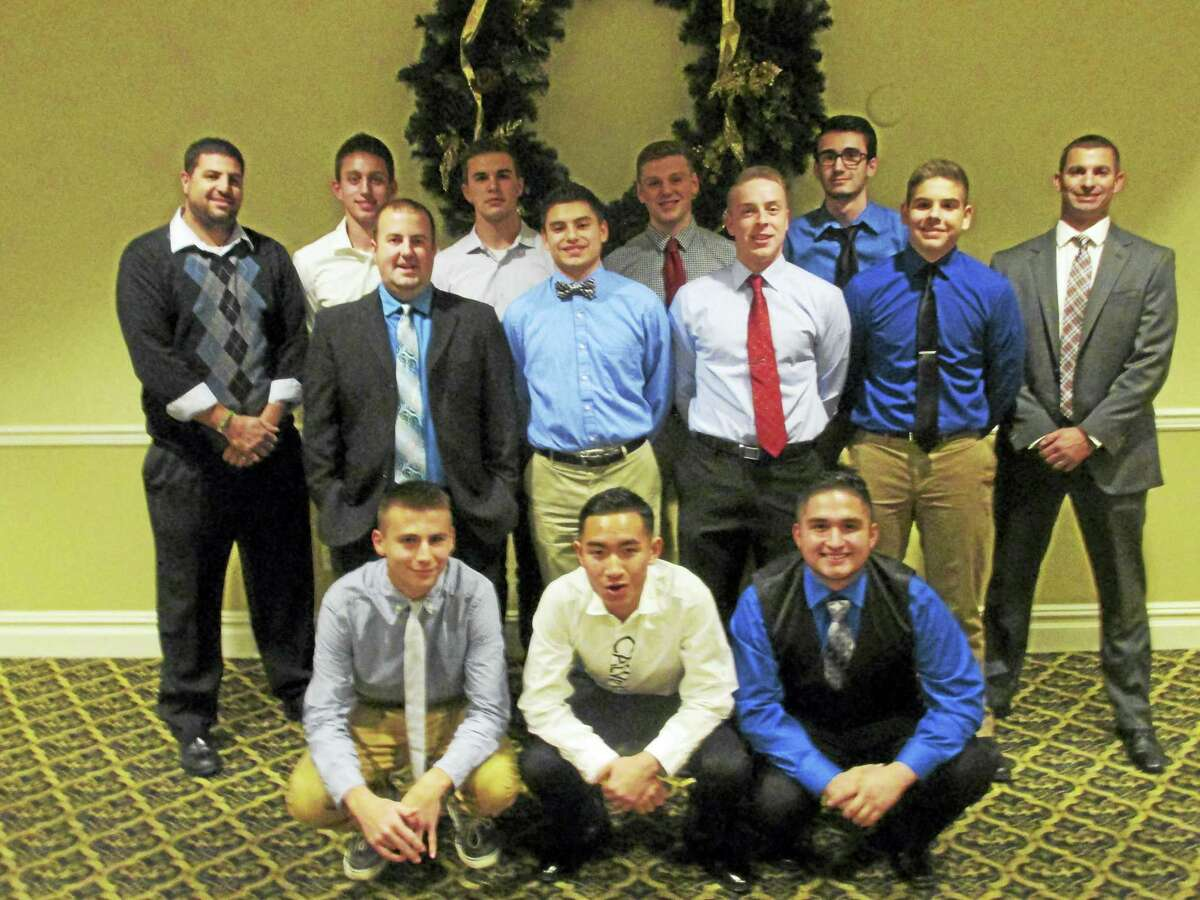 Torrington boys soccer team coaches and seniors at the annual team banquet are, front row, left to right, Austin Todd, Andy Phothirath, John Borja; second row, left to right, Coach Eric Mahar, Nick Dalla Valle, Ben Vanotti, Ryan Nader; third row, left to right, Head Coach Mike Fritch, Brandon Stater, Luke Wassik, Jake Reynolds, Scott Dixon, Coach Jay Apruzzese.