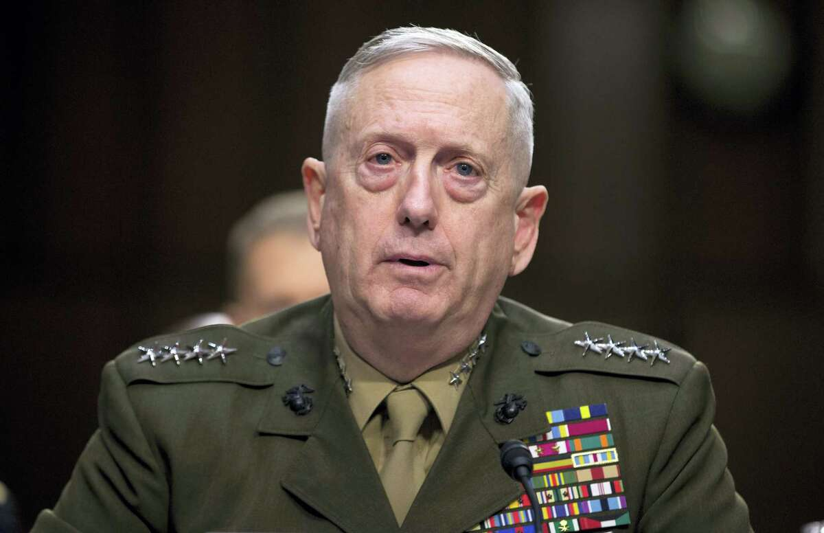 In this March 5, 2013, file photo, then-Marine Gen. James Mattis, commander, U.S. Central Command, testifies on Capitol Hill in Washington. President-elect Donald Trump says he will nominate retired Gen. James Mattis to lead the Defense Department.