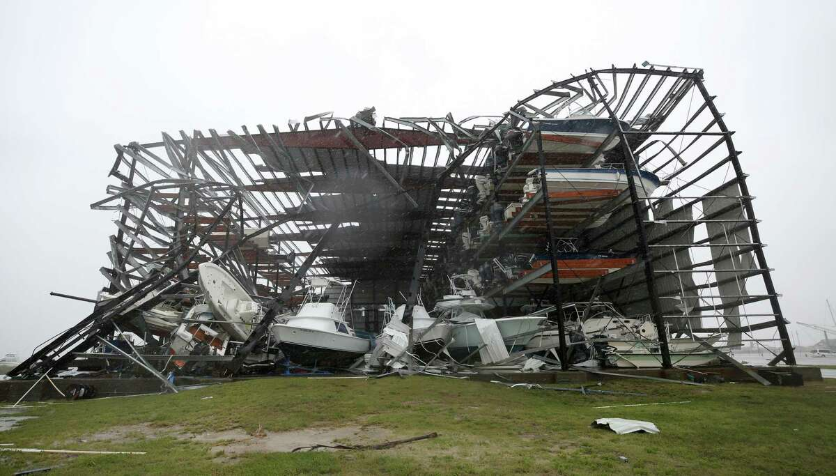What remains of House of Boats boat yard after Hurricane Harvey made landfall Saturday, Aug. 26, 2017, in Rockport, Texas.