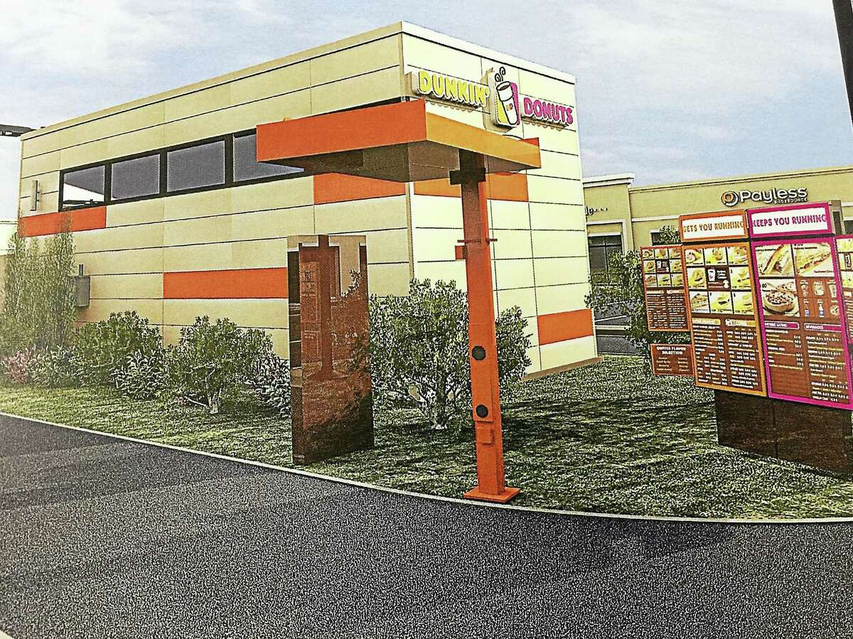 CONTRIBUTED PHOTO Artistic renderings of a planned Dunkin' Donuts at 305 East Main Street in Torrington.
