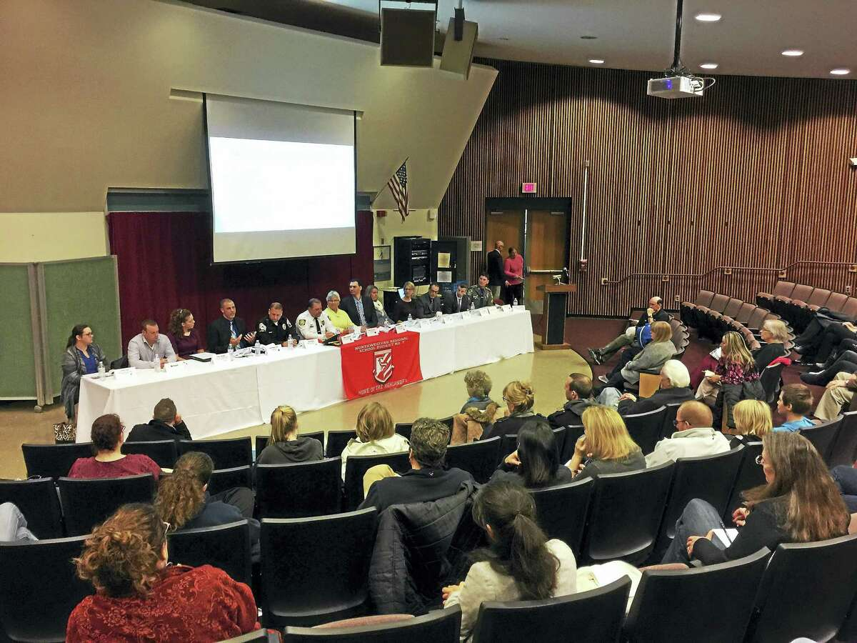 A forum on opiate addiction in the Northwest Corner was held Thursday at Northwestern Regional High School.