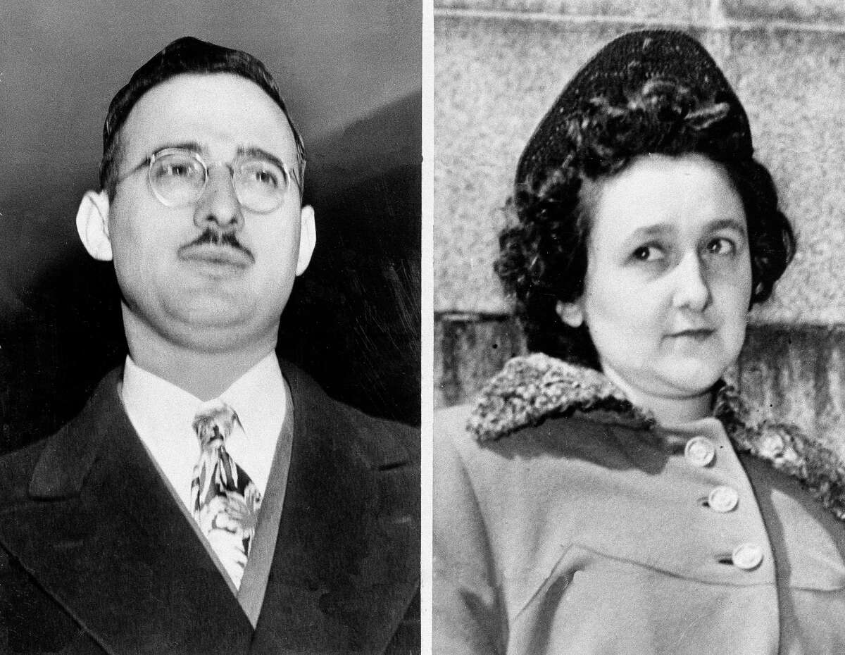 These undated file photos show Julius and Ethel Rosenberg, the convicted husband and wife of the Cold War atomic spying case. The sons of convicted spy Ethel Rosenberg are asking President Barack Obama to exonerate their mother, Ethel Rosenberg. Rosenberg was executed, along with her husband, Julius, in 1953 after being convicted in a Cold War atomic spying case that captivated the country.
