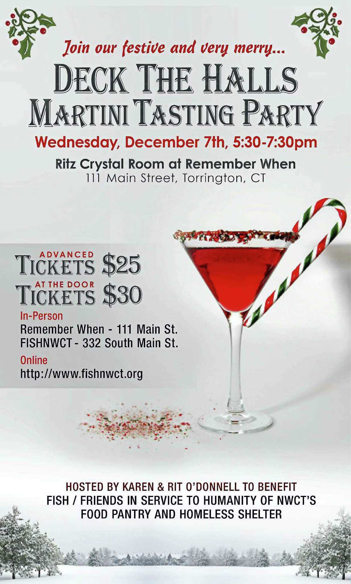 Contributed photoThe flyer for the upcoming Deck the Halls Martini Tasting Party, which will be held at the Ritz Crystal Room at Remember When on Main Street, to benefit FISH's food pantry and homeless shelter.