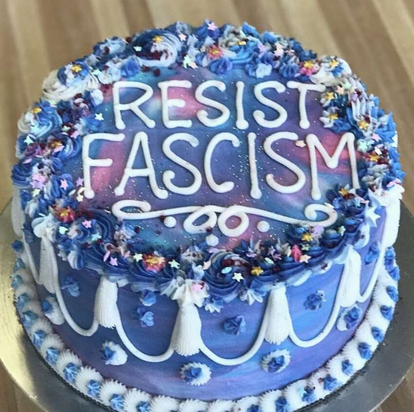 Shotwell says a customer requested the 'Kill Nazi' cake after being inspired by this 'Resist Fascism' cake.