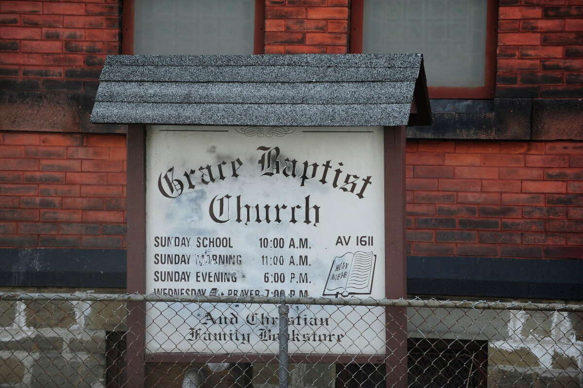 A view of the sign outside the Grace Baptist Church on Sunday, March 23, 2014, in Troy, N.Y. A drawing was held after service and a modified AR-15 rifle was given away. (Paul Buckowski / Times Union)