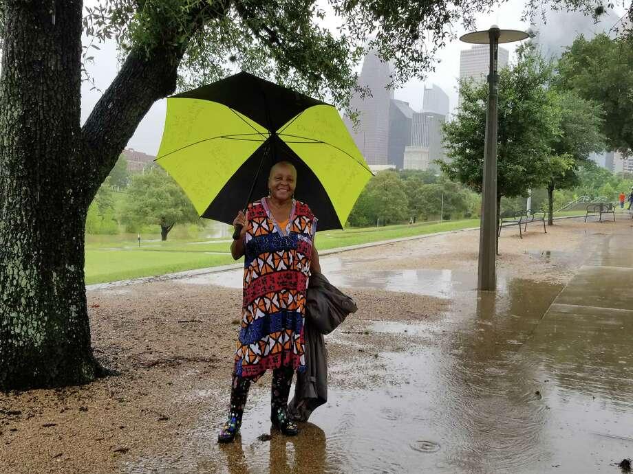 Houstonians enjoying Buffalo Bayou Park despite Hurricane Harvey.  Lillie dancing at the Buffalo Bayou Park / Houston Chronicle
