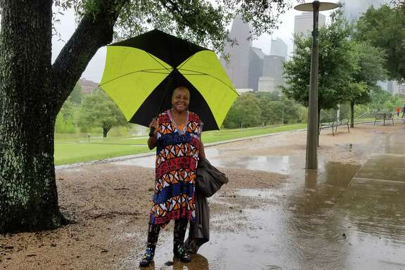 Houstonians enjoying Buffalo Bayou Park despite Hurricane Harvey.  Lillie dancing at the Buffalo Bayou Park