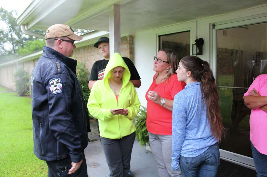 Patton Village Mayor Leah Tarrant and Police Chief Shannon Sharp were busy on Saturday planning for the potential flooding in the community associated with Hurricane Harvey. Photo: Vanesa Brashier