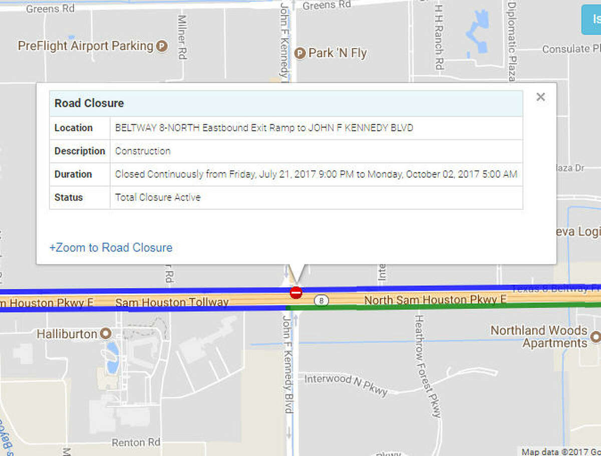 BELTWAY 8-NORTH Eastbound Exit Ramp to JOHN F KENNEDY BLVD - Closed continuously until Oct. 02