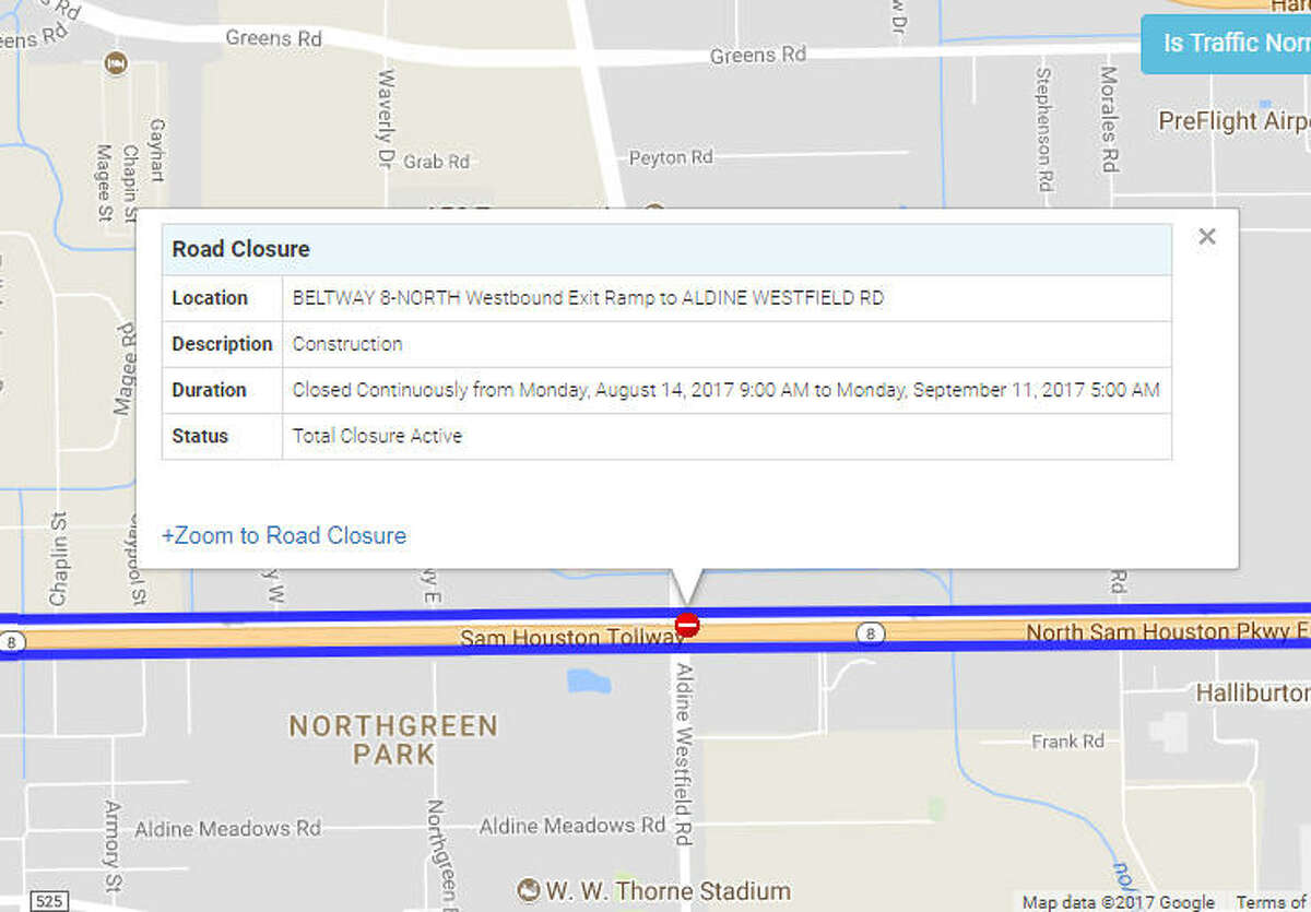 BELTWAY 8-NORTH Westbound Exit Ramp to ALDINE WESTFIELD RD - Closed continuously until Sept. 11
