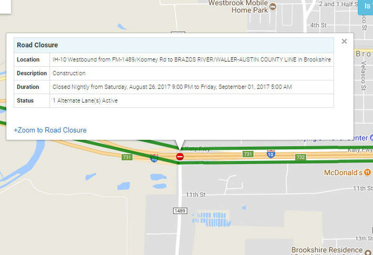 IH-10 Westbound from FM-1489/Koomey Rd to BRAZOS RIVER/WALLER-AUSTIN COUNTY LINE in Brookshire - Closed continuously until Sept. 01