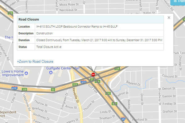 IH-610 SOUTH LOOP Eastbound Connector Ramp to IH-45 GULF - Closed continuously until Dec. 31