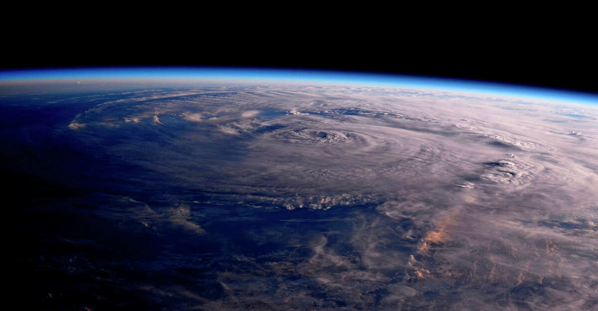 This NASA photo shows Hurricane Harvey over Texas. Harvey started out as a tropical wave on the western coast of Africa on Aug. 13, 2017.