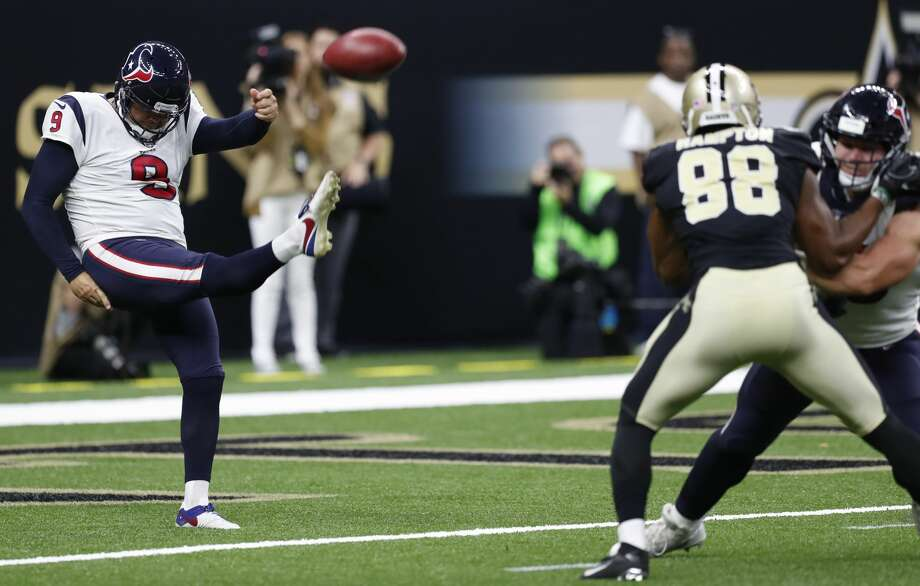 Houston Texans punter Shane Lechler (9) punts against the New Orleans Saints during the fourth quarter of an NFL pre-season football game at the Mercedes-Benz Superdome  on Saturday, Aug. 26, 2017, in New Orleans. ( Brett Coomer / Houston Chronicle ) Photo: Brett Coomer/Houston Chronicle