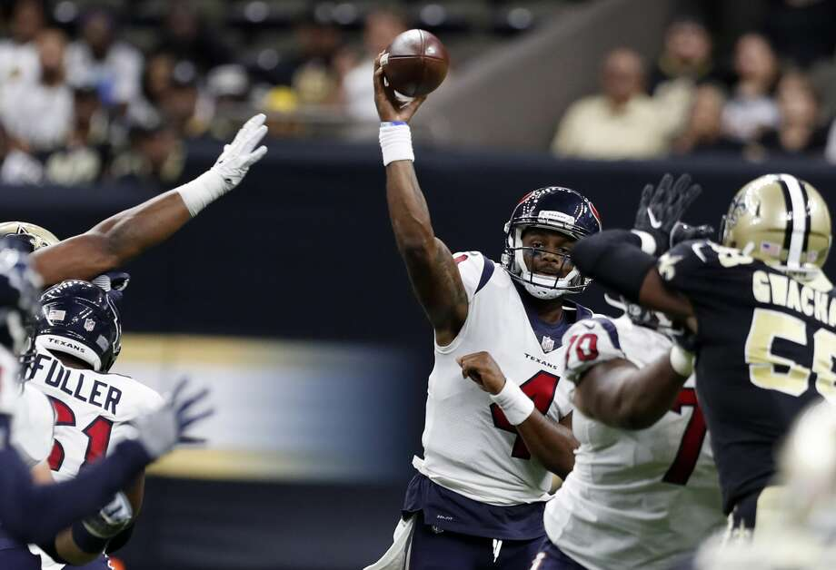 PHOTOS: Players from Houston who made 2019 NFL rosters  Houston Texans quarterback Deshaun Watson (4) throws a pass against the New Orleans Saints during the third quarter of an NFL pre-season football game at the Mercedes-Benz Superdome on Saturday, Aug. 26, 2017, in New Orleans. ( Brett Coomer / Houston Chronicle ) >>>Here's a look at all the players from Houston area high schools who made an NFL roster for the 2019 season ...  Photo: Brett Coomer/Houston Chronicle