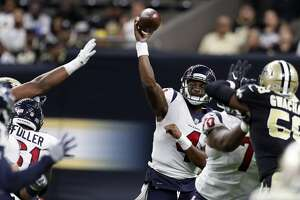 Houston Texans quarterback Deshaun Watson (4) throws a pass against the New Orleans Saints during the third quarter of an NFL pre-season football game at the Mercedes-Benz Superdome  on Saturday, Aug. 26, 2017, in New Orleans. ( Brett Coomer / Houston Chronicle )