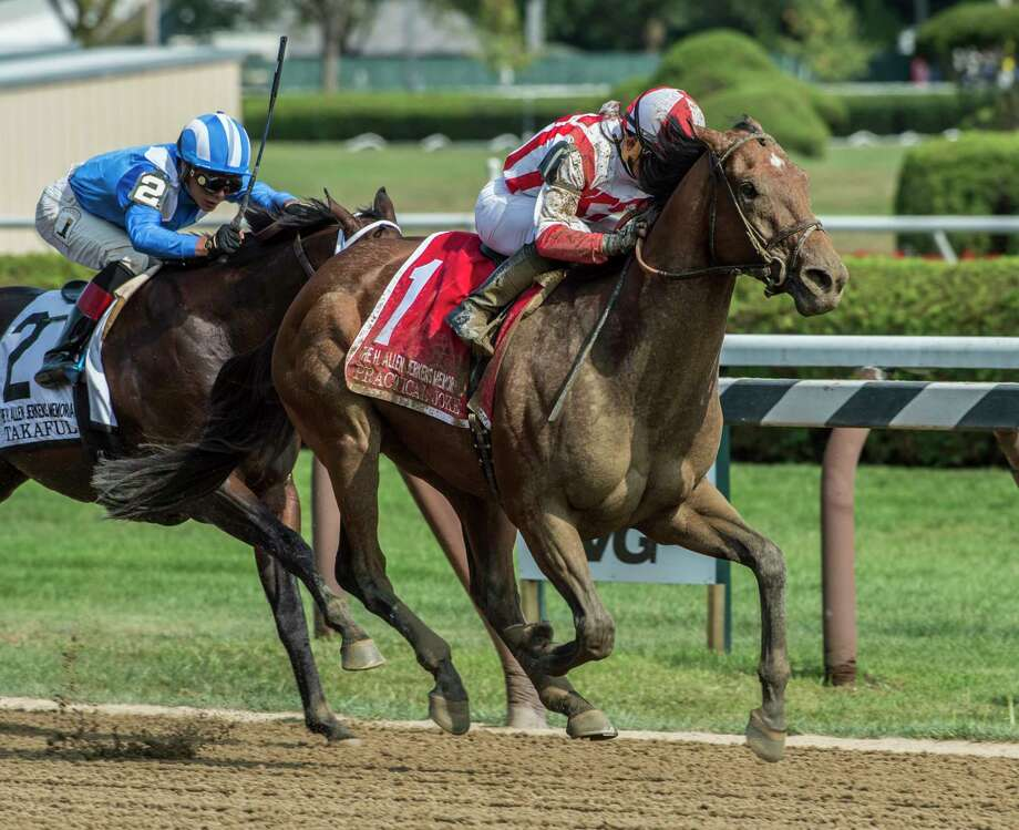 Practical Joke with jockey Joel Rosario wins the 33rd running of The H. Allen Jerkens at the Saratoga Race Course in Saratoga Springs, N.Y.  (Skip Dickstein/Times Union) Photo: SKIP DICKSTEIN