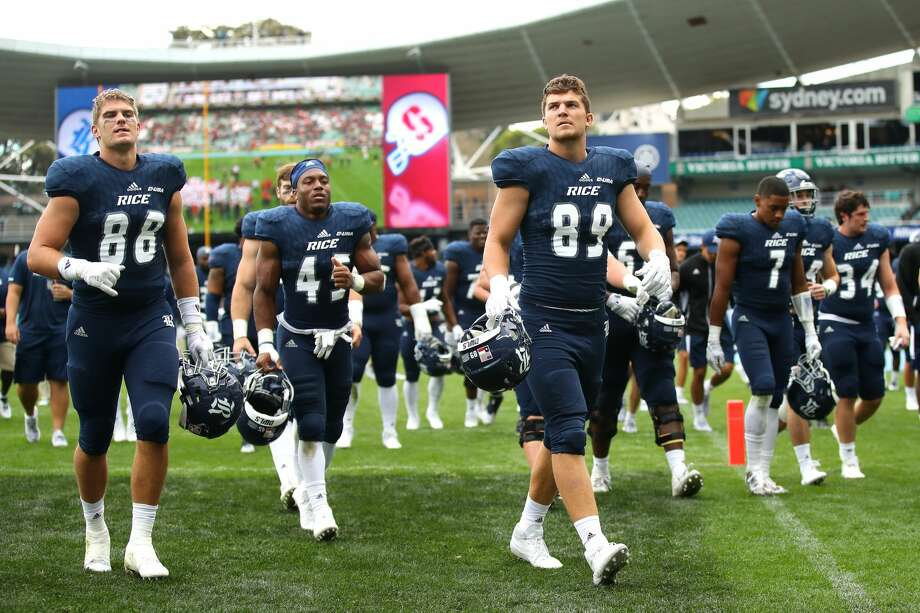 SYDNEY, AUSTRALIA - AUGUST 27:  Brandt Peterson of Rice and team mates leave the field after losing the College Football Sydney Cup match between Stanford University (Stanford Cardinal) and Rice University (Rice Owls) at Allianz Stadium on August 27, 2017 in Sydney, Australia.  (Photo by Cameron Spencer/Getty Images) Photo: Cameron Spencer/Getty Images