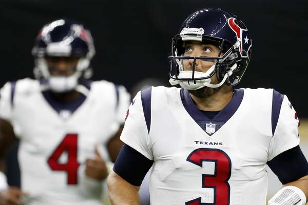 Houston Texans quarterback Tom Savage (3) and Deshaun Watson run onto the field before an NFL pre-season football game against the New Orleans Saints at the Mercedes-Benz Superdome  on Saturday, Aug. 26, 2017, in New Orleans. ( Brett Coomer / Houston Chronicle )