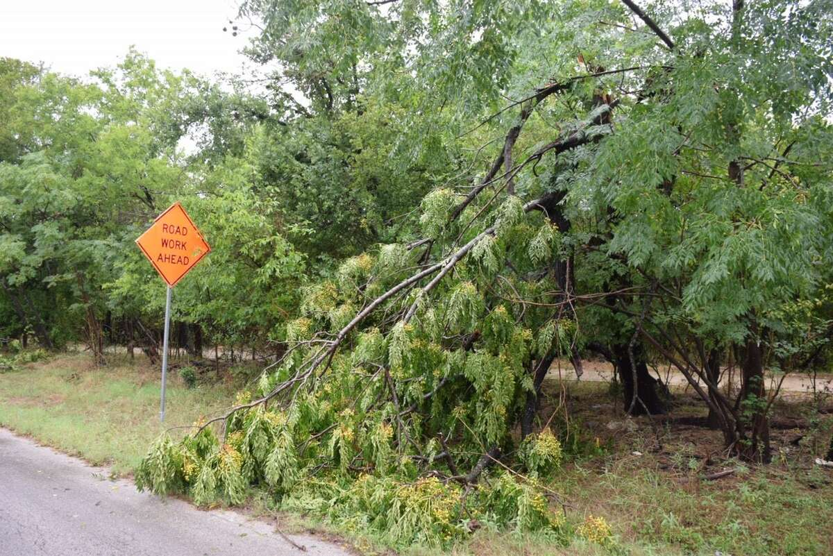 Several trees on Ira Lee Road on the Northeast Side were downed when Tropical Storm Harvey passed through San Antonio. Much of the wreckage had been cleared from the road by Sunday Aug. 27, 2017.