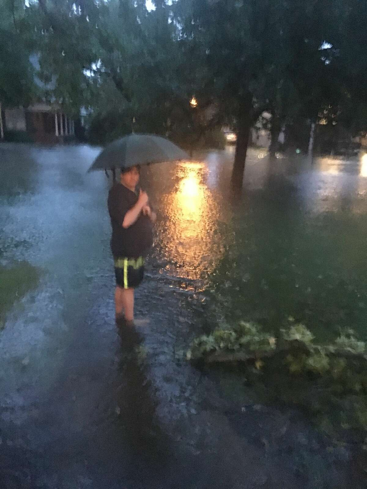 As Hurricane Harvey descends on Houston, residents braving the rain are sharing photos of flooding, damage, and their storm setups.