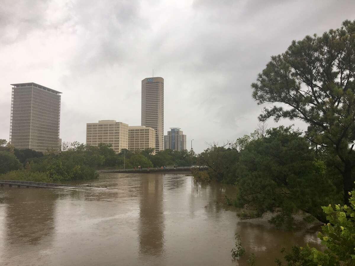 A view of Buffalo Bayou Park, where Hurricane Harvey's rains have completely flooded Memorial Drive r at 9 a.m. Sunday, Aug. 27, 2017.