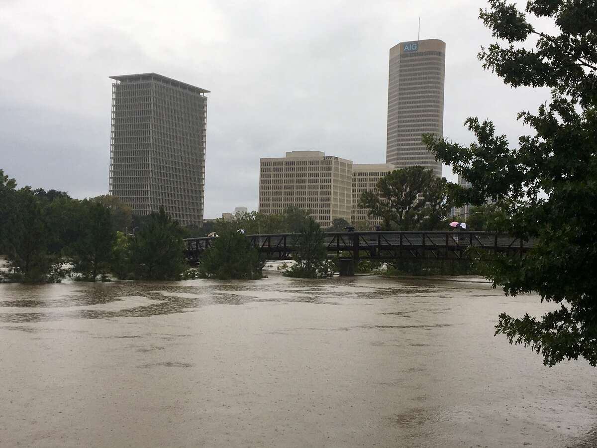 Anne Olsen, president of the Buffalo Bayou Partnership, said in a Sept. 12, 2017 online update that she expects parts of the park to remain underwater for several weeks after Hurricane harvey hit.See more of the flooding at Buffalo Bayou Park and other images from Hurricane Harvey.