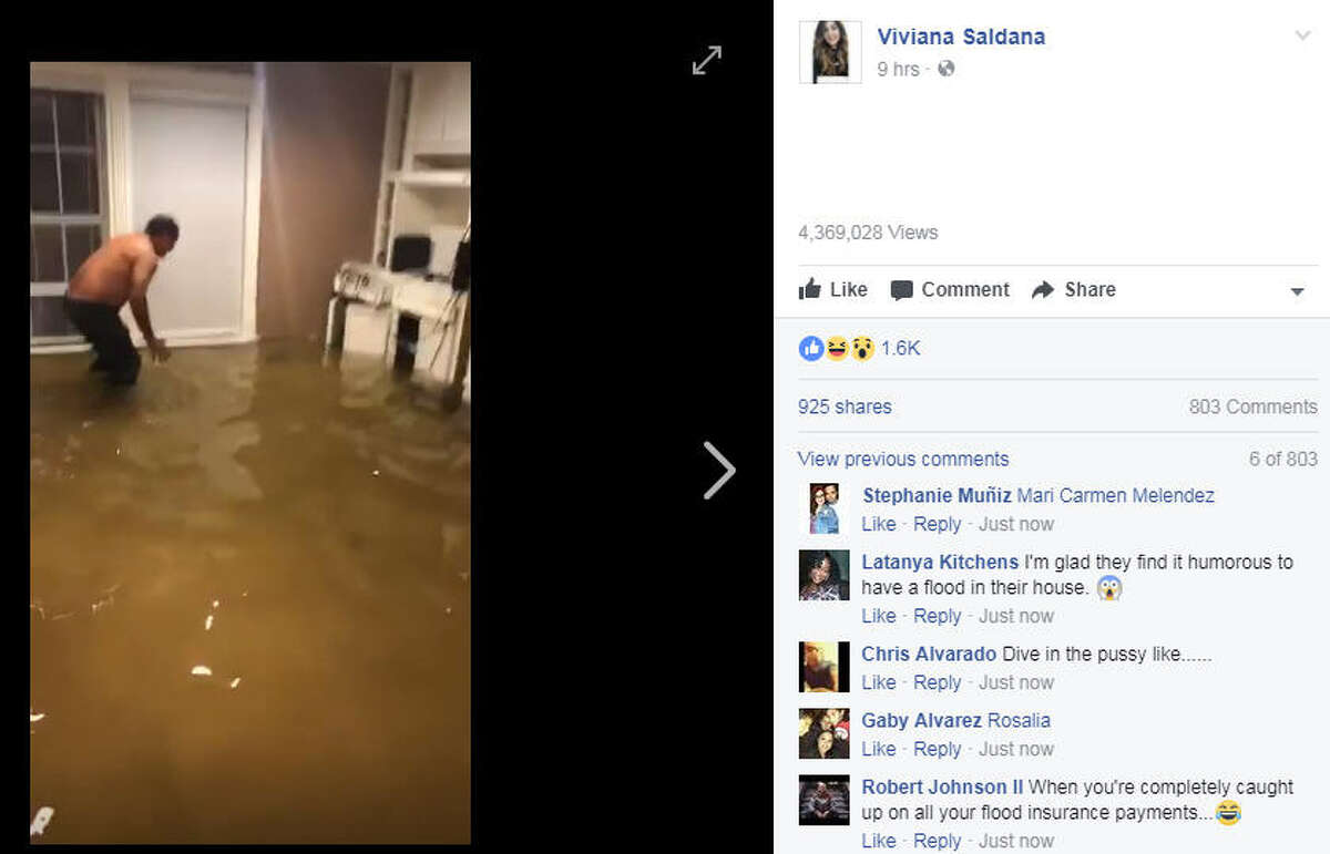 Viviana Saldana recorded a man capturing a fish inside a flooded house in Houston on Aug. 26, 2017.Image source: Facebook
