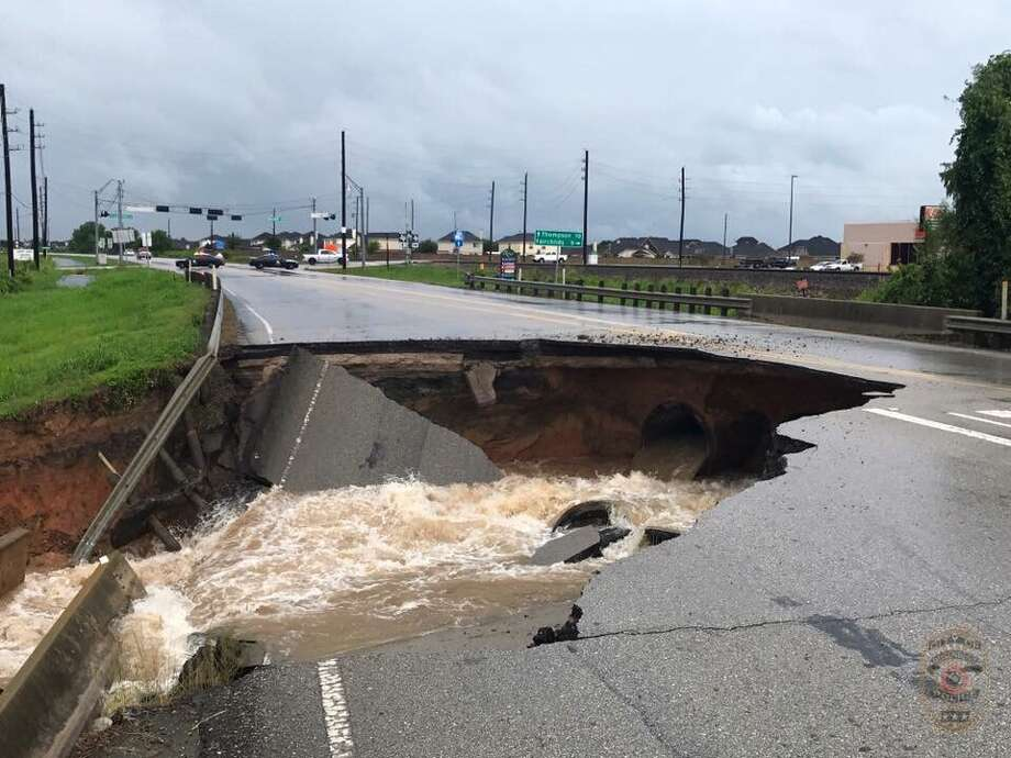 This sinkhole in Rosenberg is indicative of the D+ rating given U.S. infrastructure by the American Society of Civil Engineers. Photo: Courtesy, Rosenberg Police Department / Rosenberg Police Department