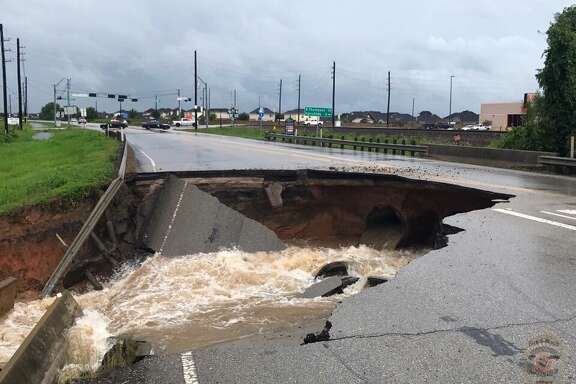 A sinkhole emerged on FM 762 in Rosenberg on Sunday.