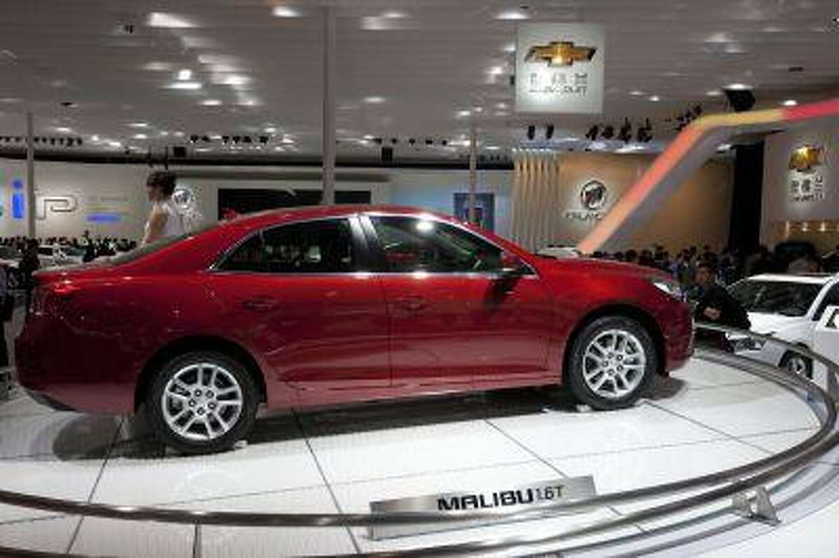 A Chevrolet Malibu 1.6T is displayed at the Beijing International Automotive Exhibition in Beijing, China, April 24, 2012. (AP Photo/Alexander F. Yuan)