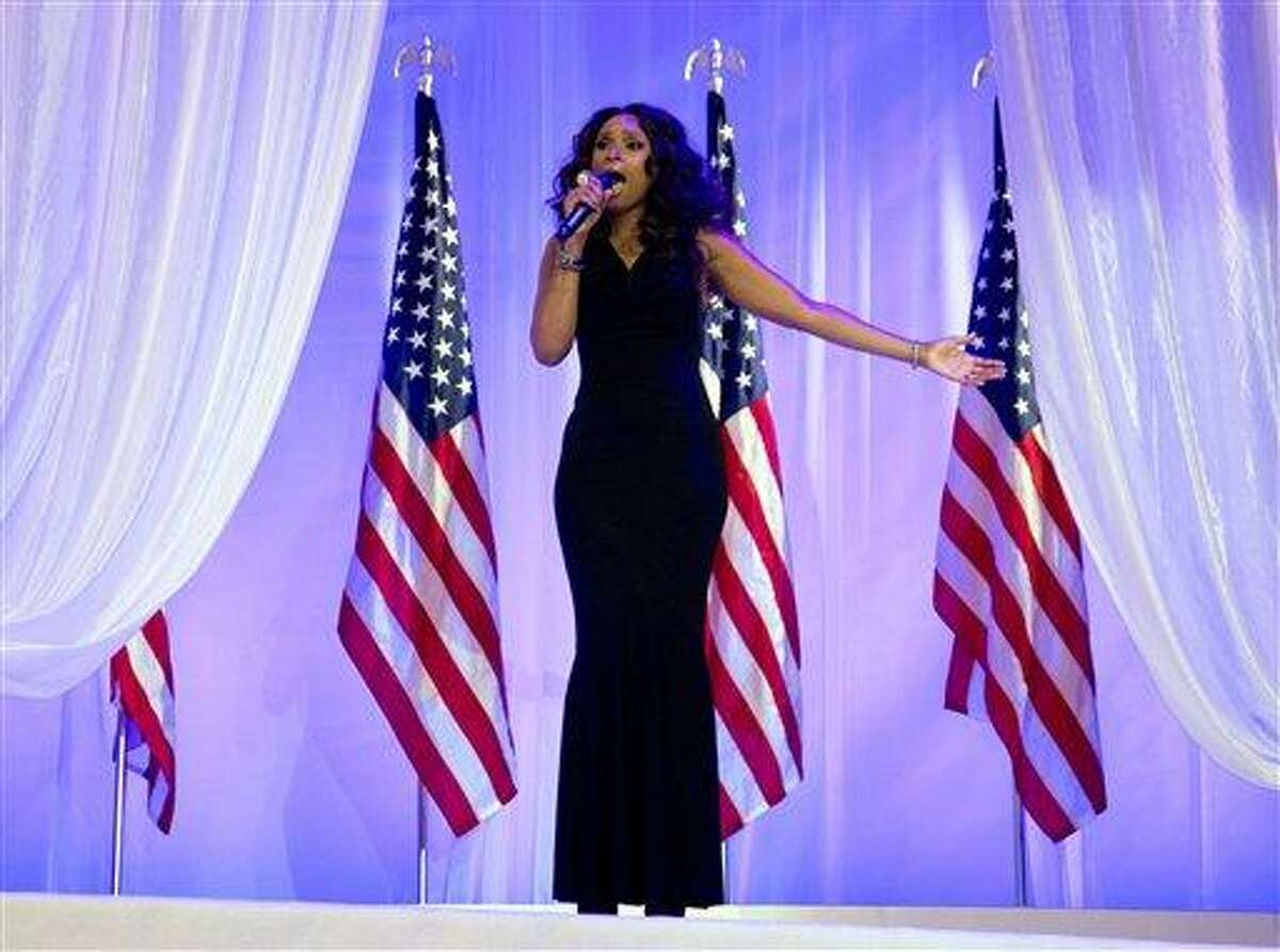 FILE - In this Monday, Jan. 21, 2013, file photo, Jennifer Hudson sings at the Inaugural Ball, in Washington, during the 57th Presidential Inauguration. The NFL announced Thursday, Jan. 31, 2013, that Jennifer Hudson will join the chorus from Sandy Hook Elementary School to sing