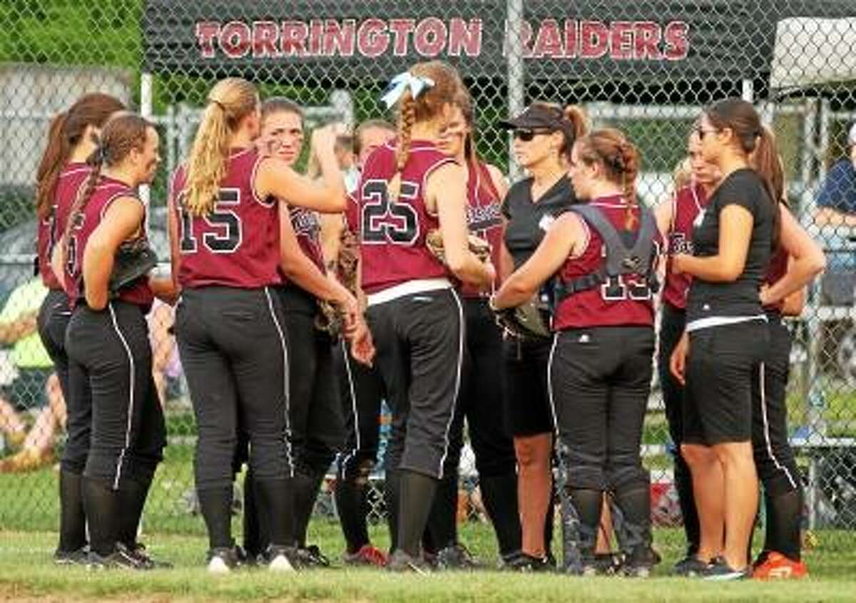 Marianne Killackey/Special to the Register Citizen Torrington head coach Maryann Musselman talks to her during their 2-1 loss to Bunnell in the second round of the Class L State Tournament.