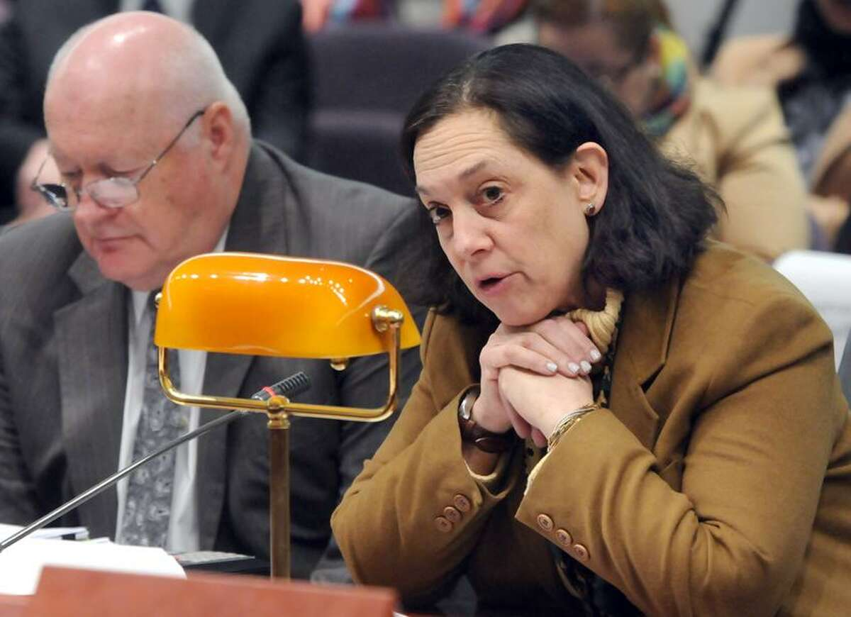 DCF Commissioner Joette Katz and Robert McKeagney, DCF Clinical and Community Consultation administrator, testified at the Legislative Office Building, Hartford; CT state legislature's Bipartisan Task Force Prevention and Children's Safety, Mental Health Services Working Group informational forum. Mara Lavitt/New Haven Register1/29/13
