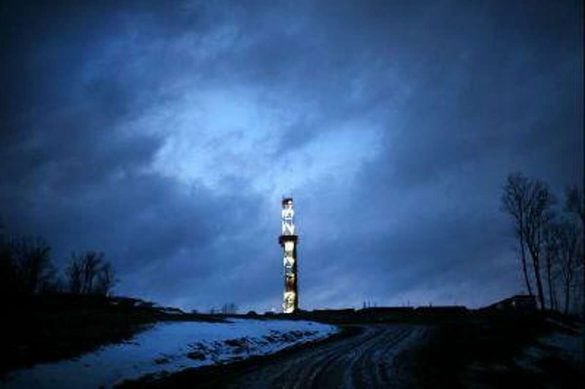 A Cabot Oil and Gas natural gas drill is viewed at a hydraulic fracturing site on Jan. 17, 2012 in Springville, Pa.