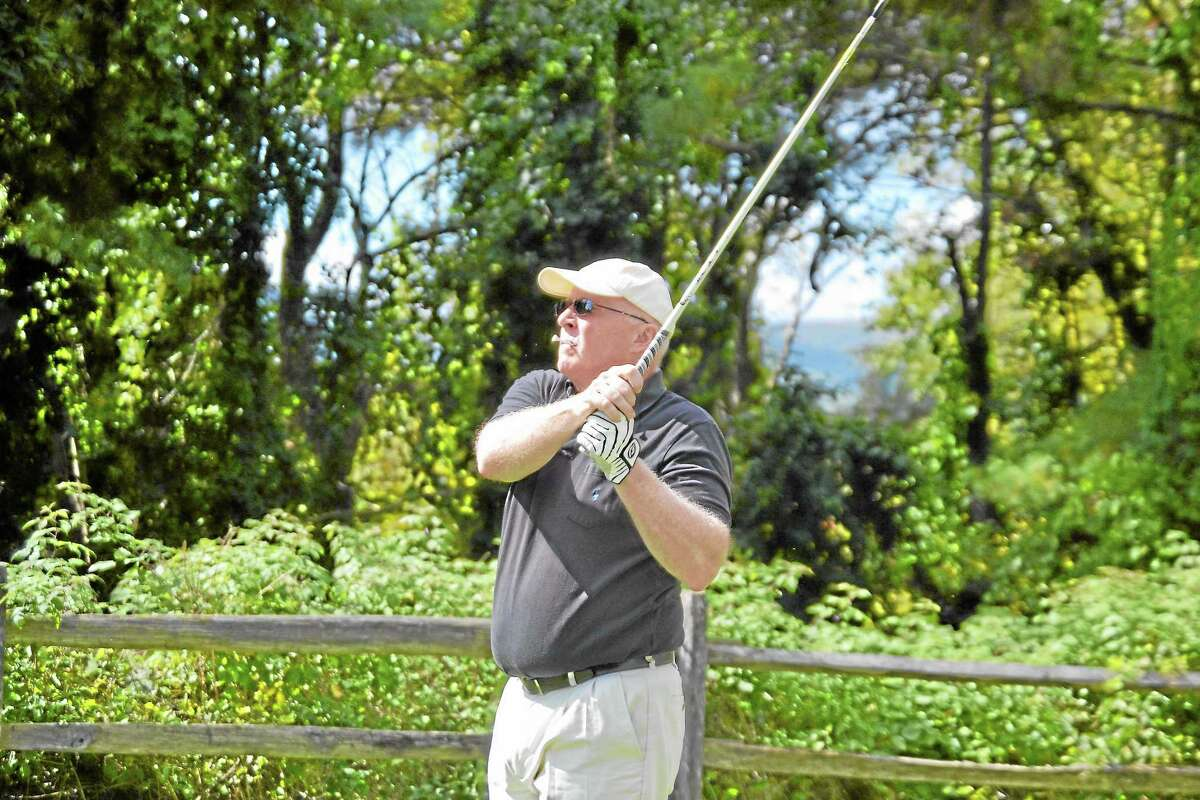 Kevin Kirby tees off during the Steve Blass Golf Tournament.