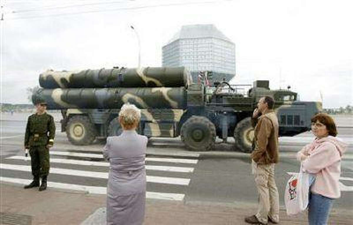 A Belarusssian S-300 mobile missile launching system takes part in a rehearsal for the Independence Day parade in central Minsk June 27, 2011.