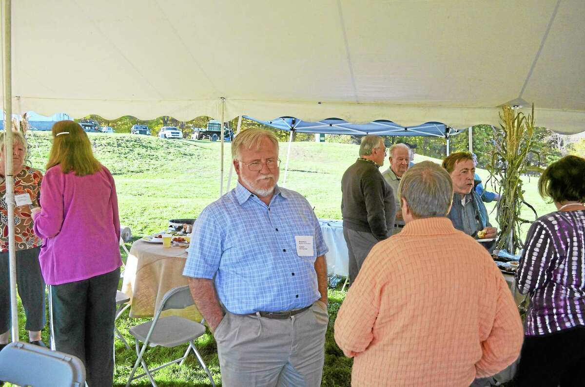 First Selectman candidate Ronald Burch hosted the meet and greet at South Farms in Morris.