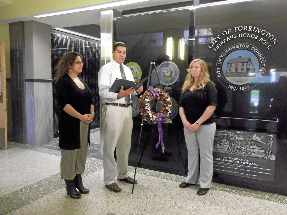 Last year, Torrington Mayor Ryan Bingham stood with members of the Susan B. Anthony Project at an announcement that October would be Domestic Violence Awareness Month.