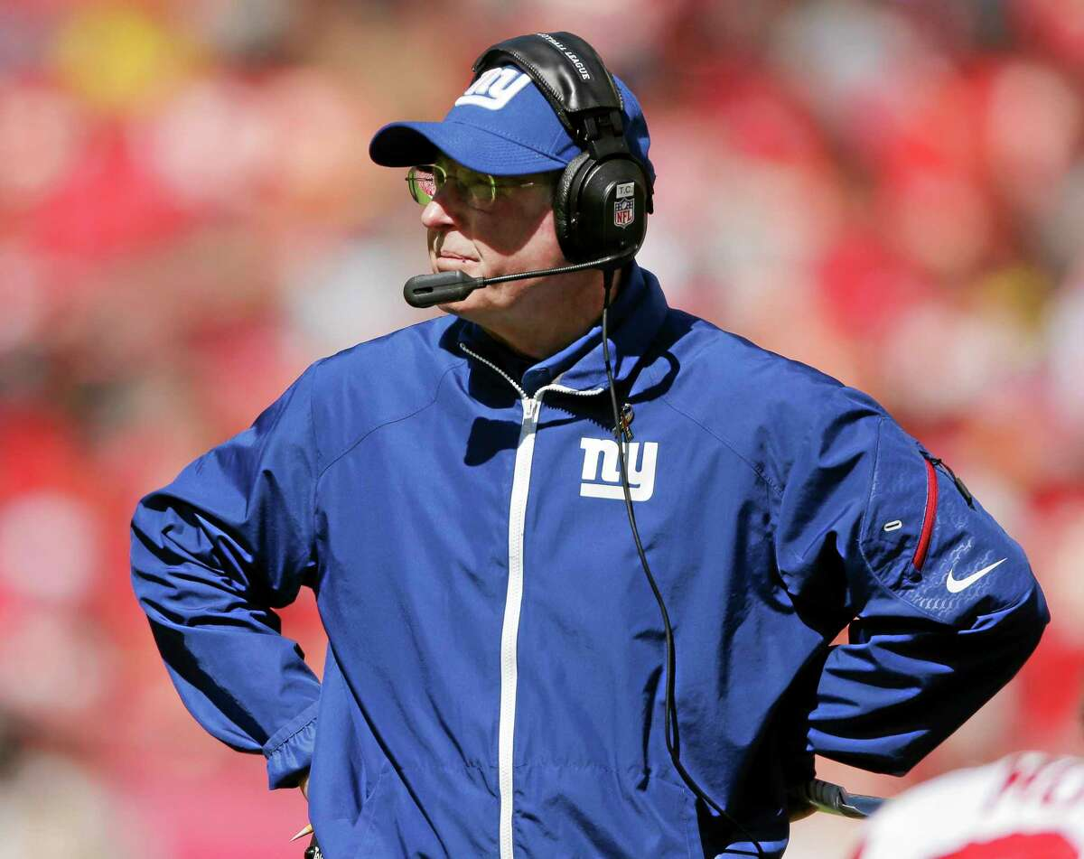 Giants coach Tom Coughlin watches from the sideline during the first half of Sunday's game against the Kansas City Chiefs.