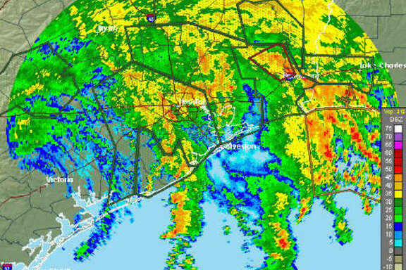 This radar image from the National Weather Service shows the impact from Tropical Storm Harvey on the Houston area. This image was part of the National Weather Service's 10 am update on Tropical Storm Harvey, Sunday, Aug. 27, 2017.