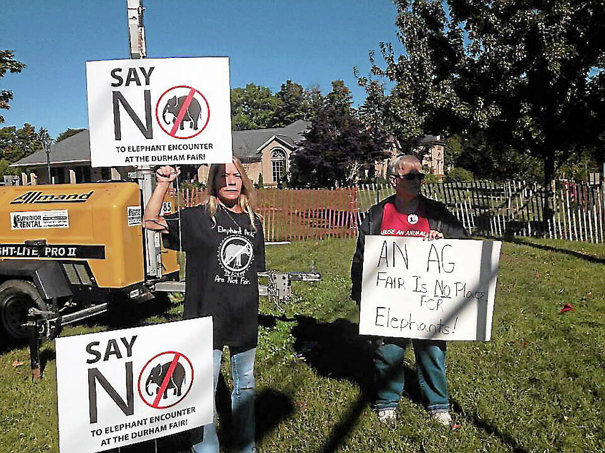 Animal advocates protest the Elephant Encounter act at the Durham Fair Saturday.