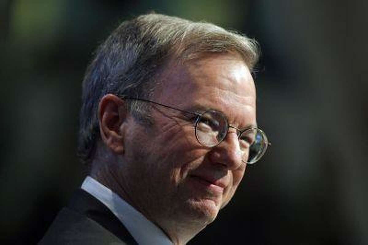 Google's then Chief Executive Eric Schmidt speaks during an event to celebrate the 25th anniversary of Massachusetts Institute of Technology's Media Lab in Cambridge, Massachusetts, in this October 15, 2010 file picture.