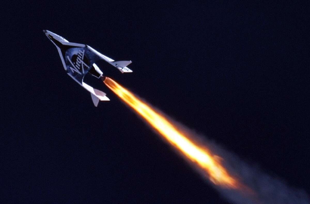 Virgin Galactic's SpaceShip2 under rocket power.